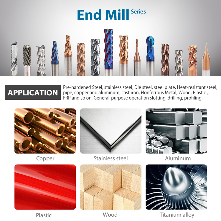 Solid Tungsten carbide End mill for general machining of steel with hardness up to HRC45 shoulder (图2)